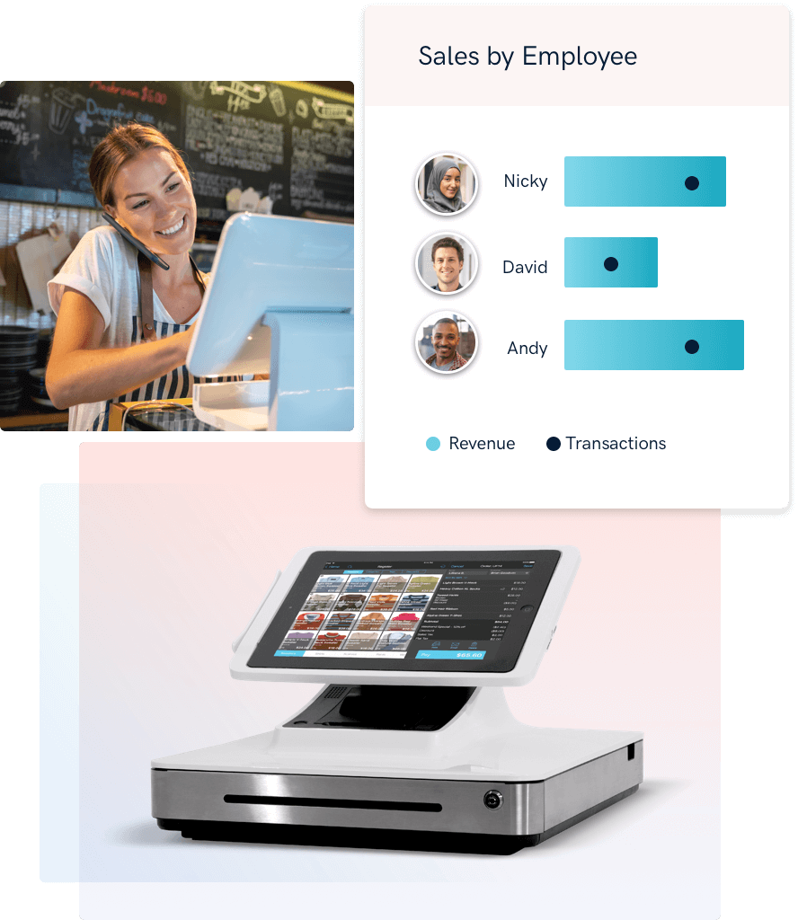 Talech point of sale system shows revenue and transactions by employee