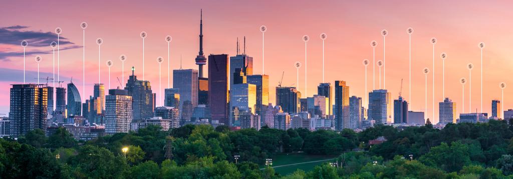 Toronto, Ontario skyline during a sunset