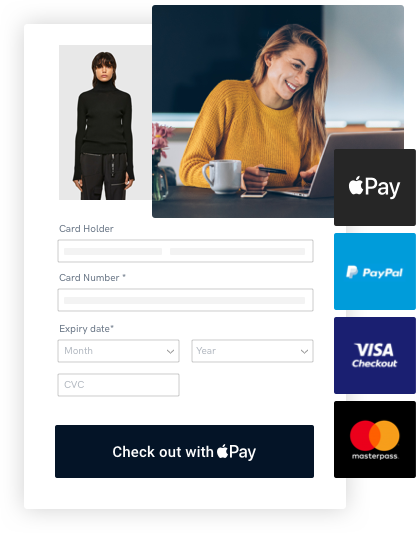 Woman with organe sweater using Paystone's online payment gateway to complete a purchase