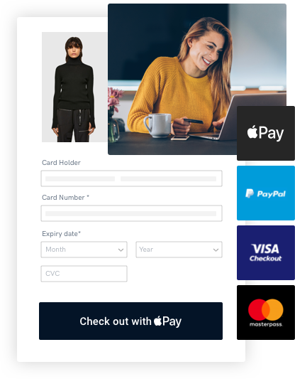 Customer making a credit card payment on an online payment gateway