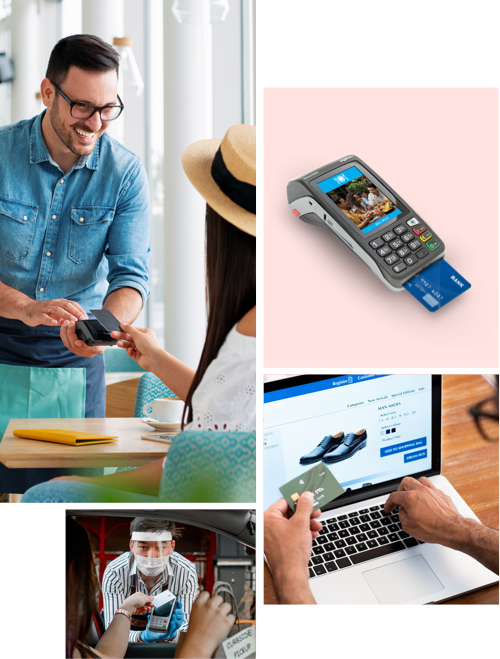 Collection of images portraying customers accepting payments from in-store and online businesses
