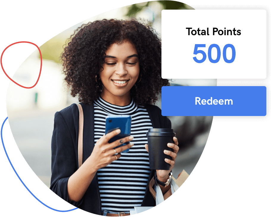 Woman redeeming loyalty points on her smartphone