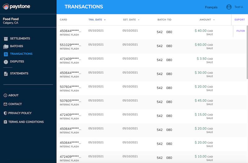 Paystone Hub - Transactions